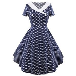 Polka Dot Button Embellished Vintage Dress